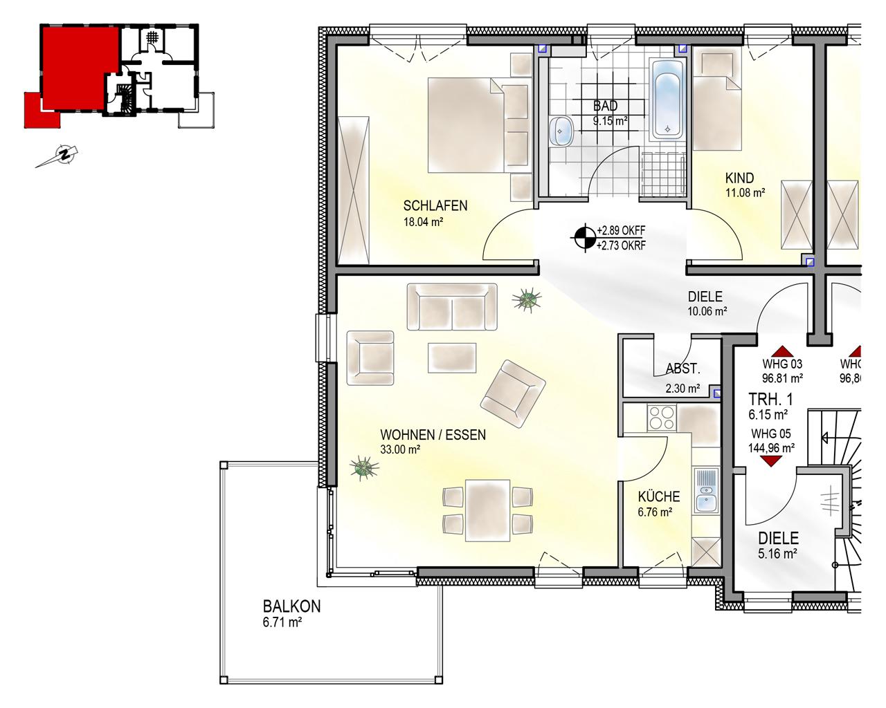 Nr. 3 - OG - 3 Zimmer - 96,81 m²