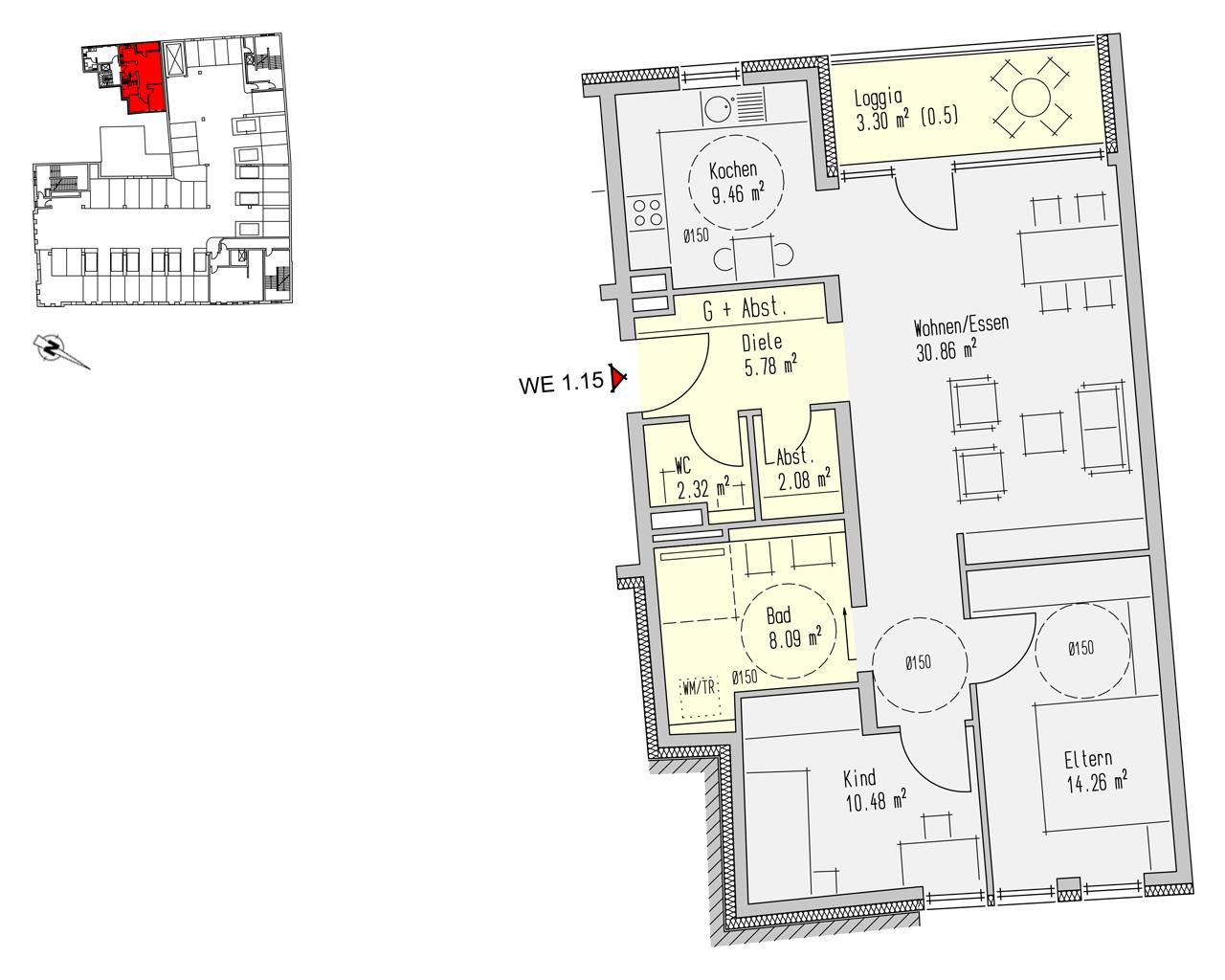 Nr. 1.15 - 1.OG - 3 Zimmer - 86,64 m²