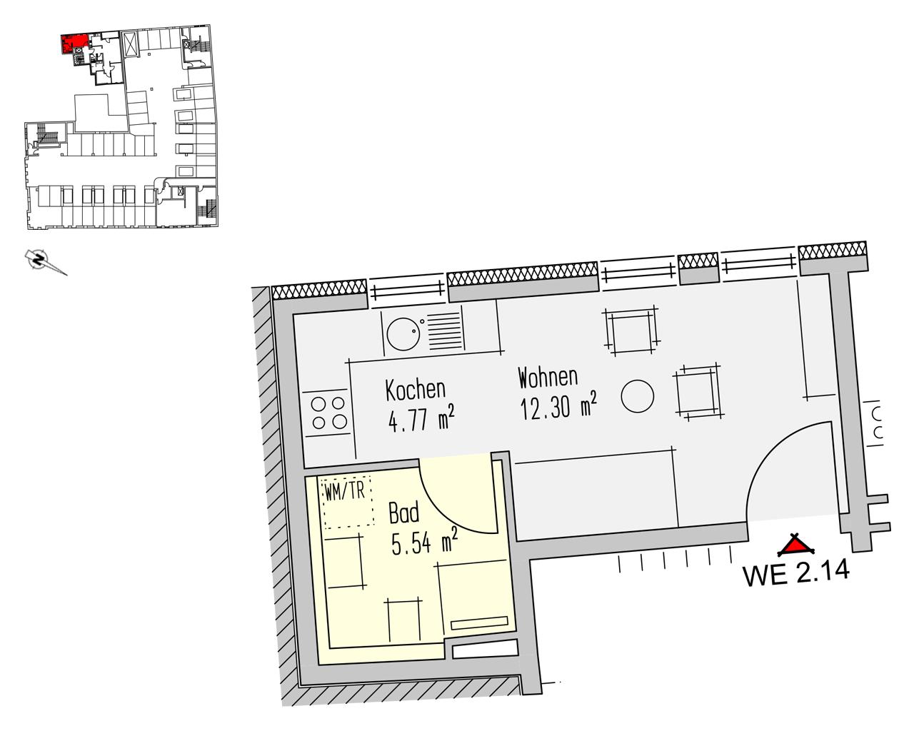 Nr. 2.14 - 2.OG - 1 Zimmer - 22,62 m² - 66.729,- €