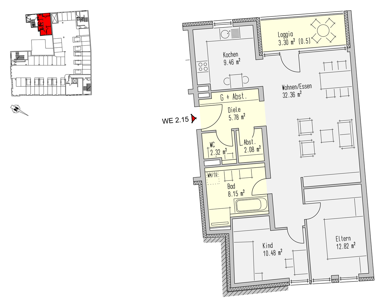 Nr. 2.15 - 2.OG - 3 Zimmer - 86,76 m² - 249.033,- €