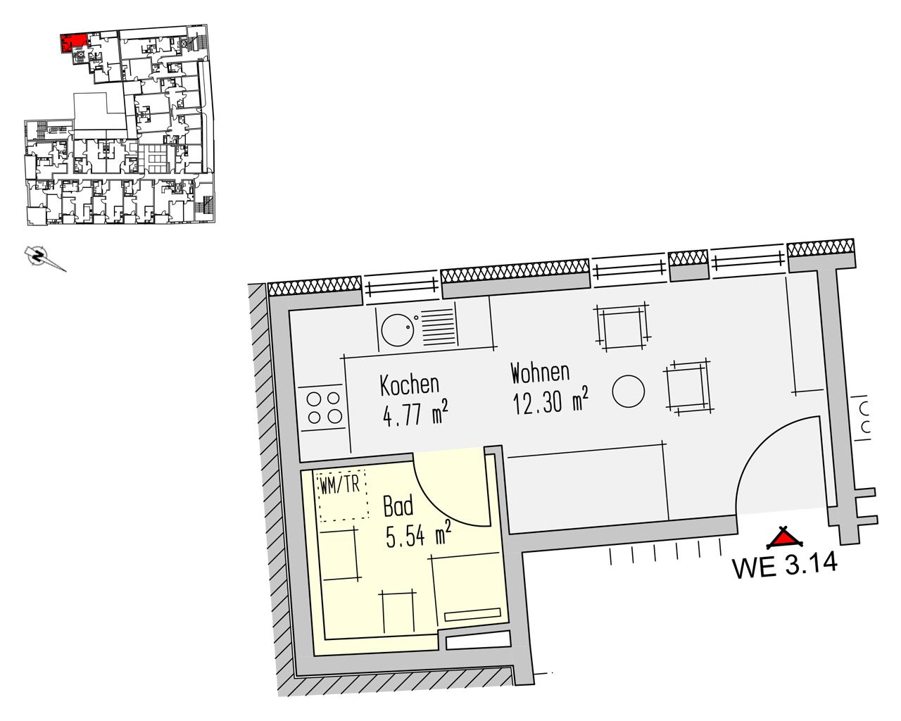 Nr. 3.14 - 3.OG - 1 Zimmer - 22,62 m² - 66.729,- €