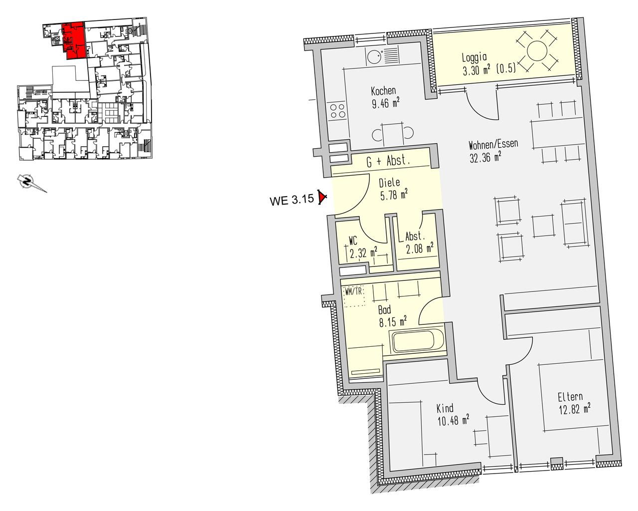 Nr. 3.15 - 3.OG - 3 Zimmer - 86,76 m² - 249.000,- €