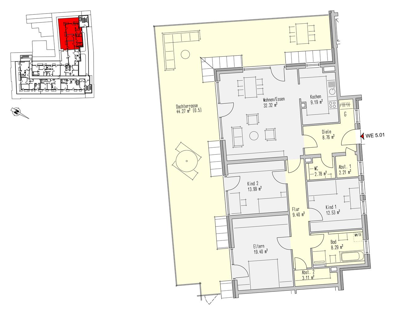 Nr. 5.01 - 5.OG - 4 Zimmer - 166,25 m²