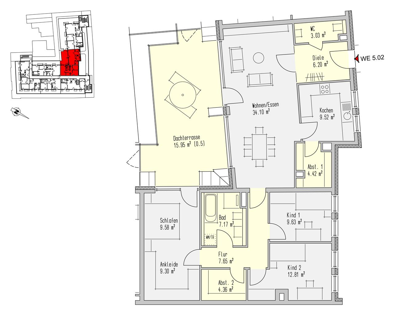 Nr. 5.02 - 5.OG - 4 Zimmer - 133,73 m²