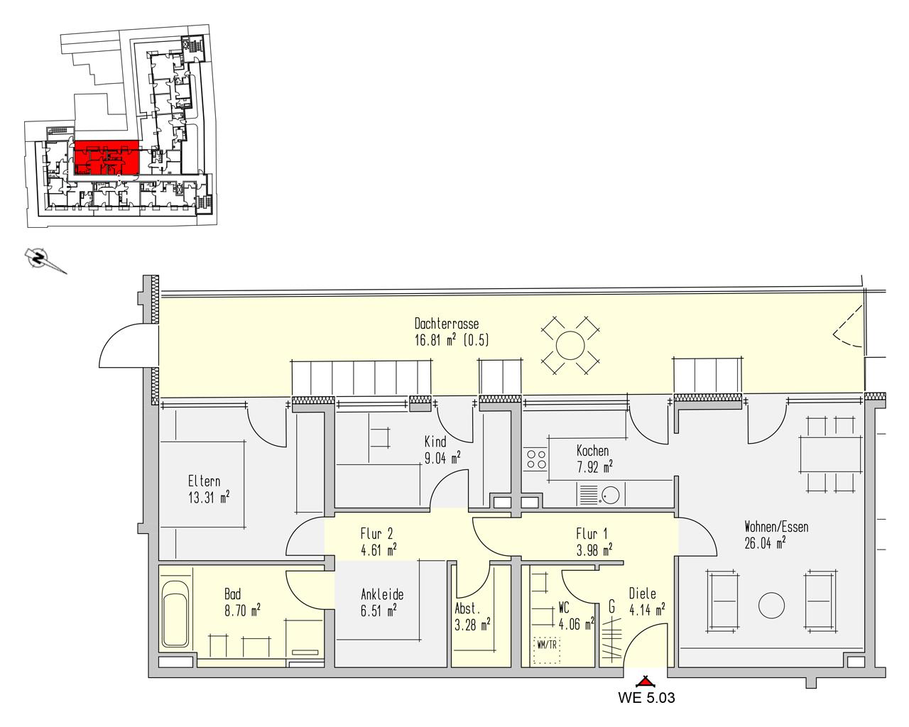 Nr. 5.03 - 5.OG - 4 Zimmer - 108,41 m² - 390.276,- €