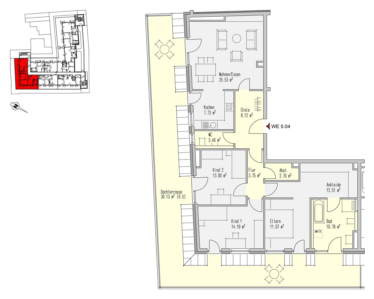 Nr. 5.04 - 5.OG - 4 Zimmer - 142,90 m² - 499.100,- €