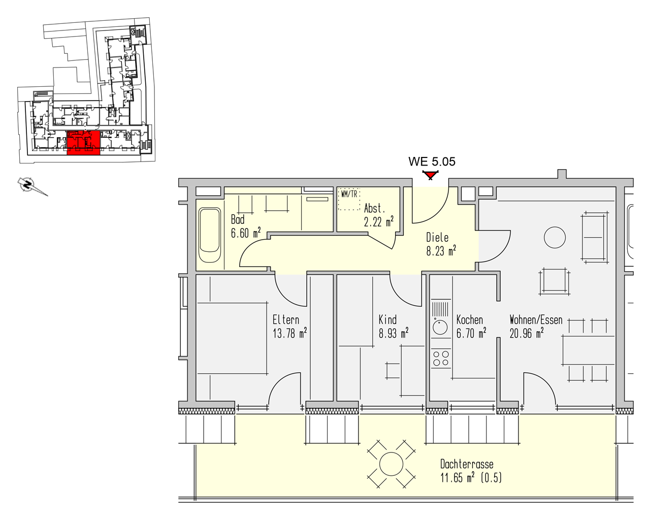 Nr. 5.05 - 5.OG - 3 Zimmer - 79,07 m² - 268.800,- €