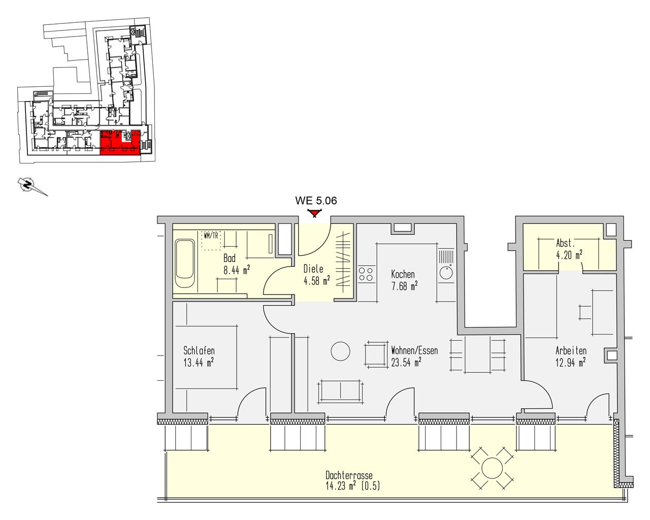 Nr. 5.06 - 5.OG - 3 Zimmer - 89,04 m² - 302.736,- €