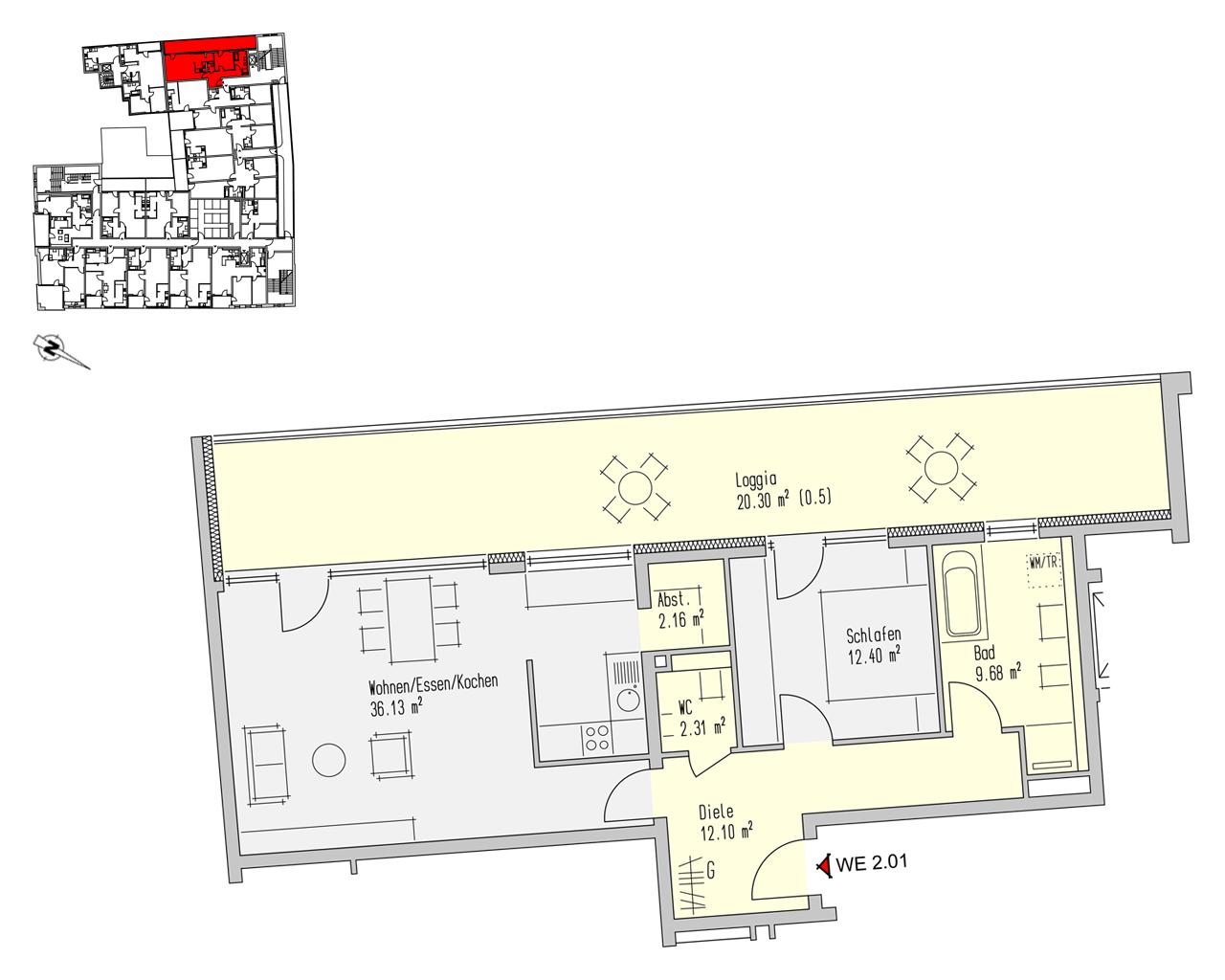 Nr. 2.01 - 2.OG - 2 Zimmer - 95,08 m² - 276.900,00 €