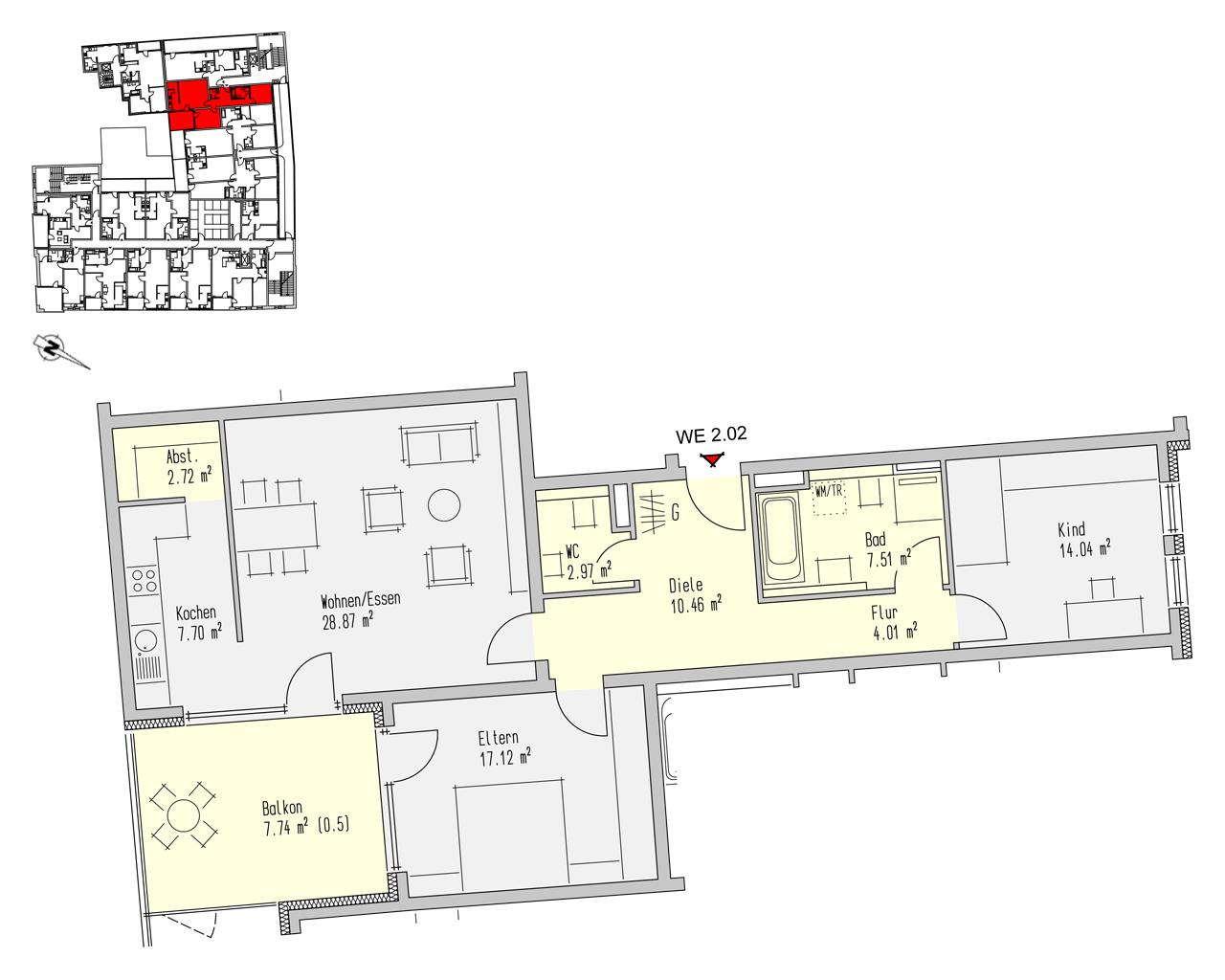 Nr. 2.02 - 2.OG - 3 Zimmer - 103,16 m² - 292.000,- €