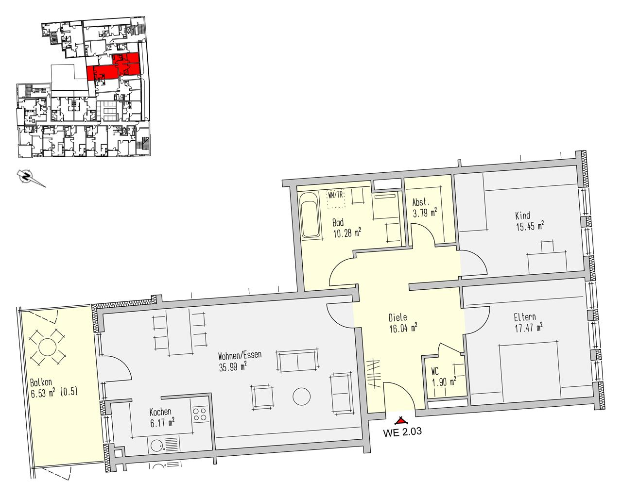 Nr. 2.03 - 2.OG - 3 Zimmer - 113,61 m² - 323.800,00 €