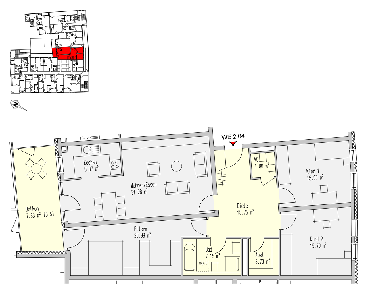 Nr. 2.04 - 2.OG - 4 Zimmer - 124,90 m² - 368.500,- €