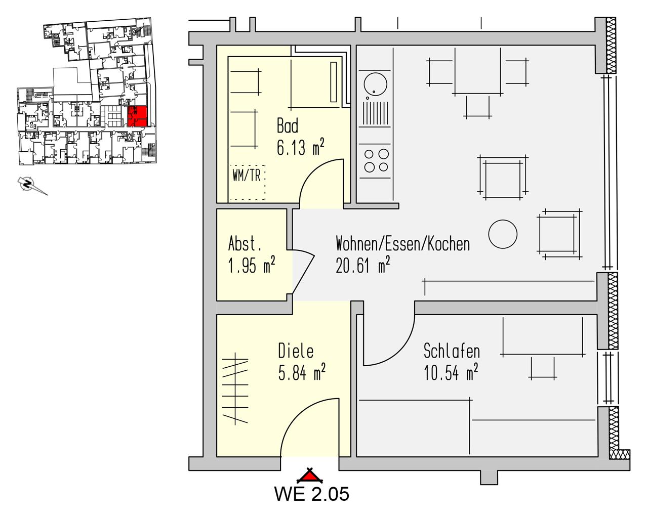 Nr. 2.05 - 2.OG - 2 Zimmer - 45,08 m² - 128.500,- €