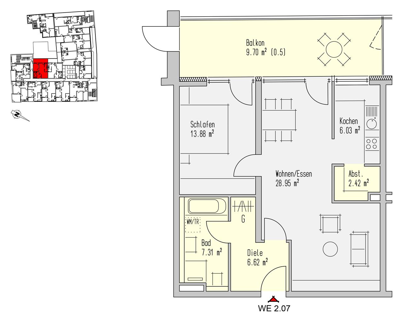 Nr. 2.07 - 2.OG - 2 Zimmer - 74,90 m² - 213.500,- €