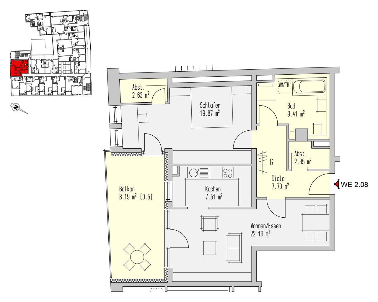 Nr. 2.08 - 2.OG - 2 Zimmer - 79,86 m² - 227.600,- €