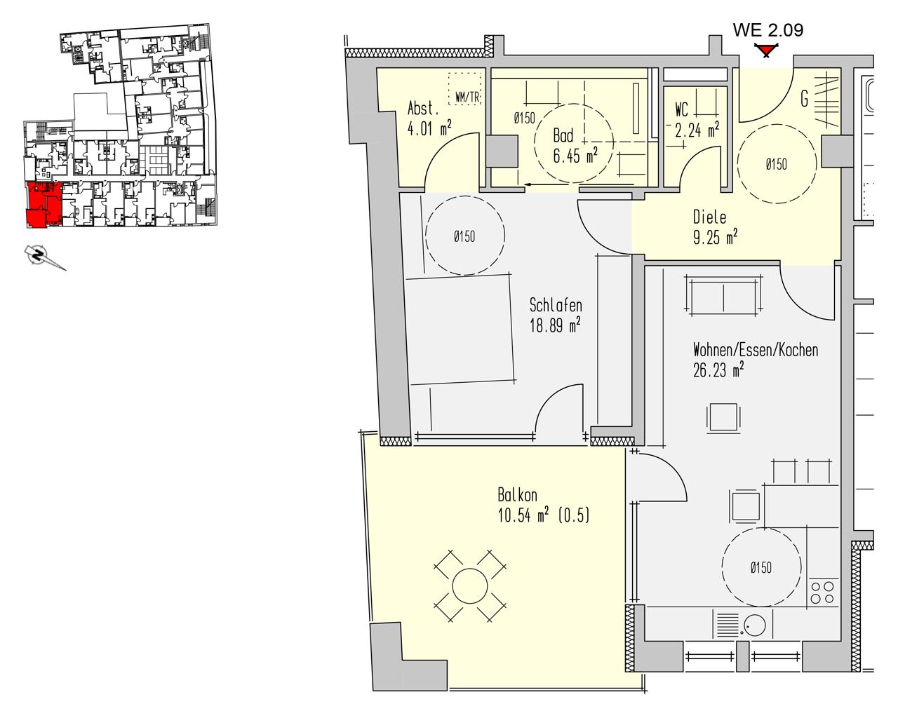 Nr. 2.09 - 2.OG - 2 Zimmer - 77,61 m²