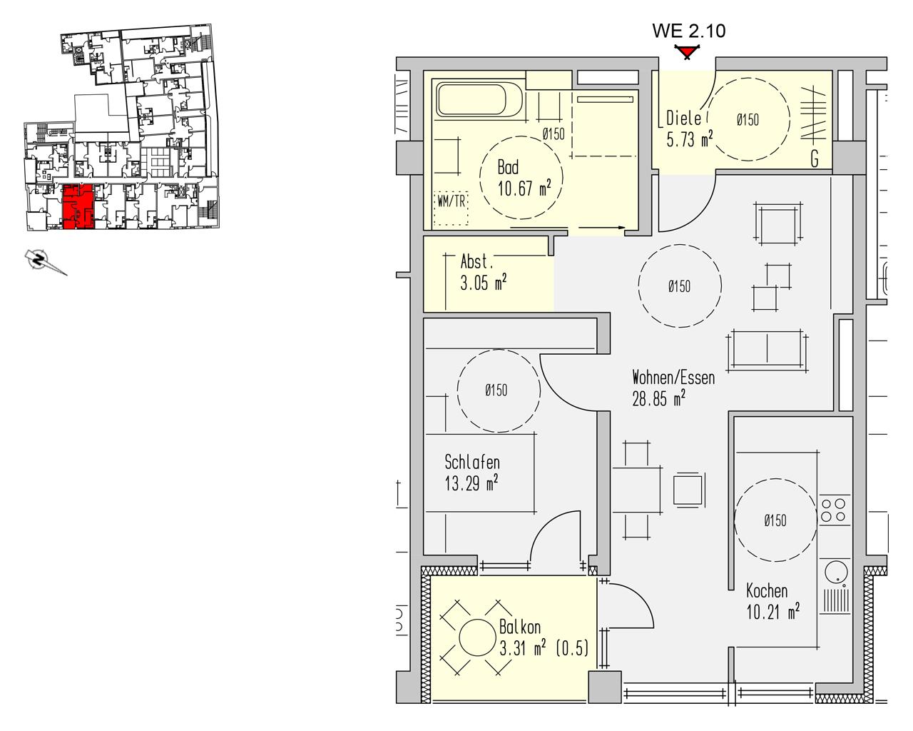 Nr. 2.10 - 2.OG - 2 Zimmer - 75,11 m² - 214.100,00 €