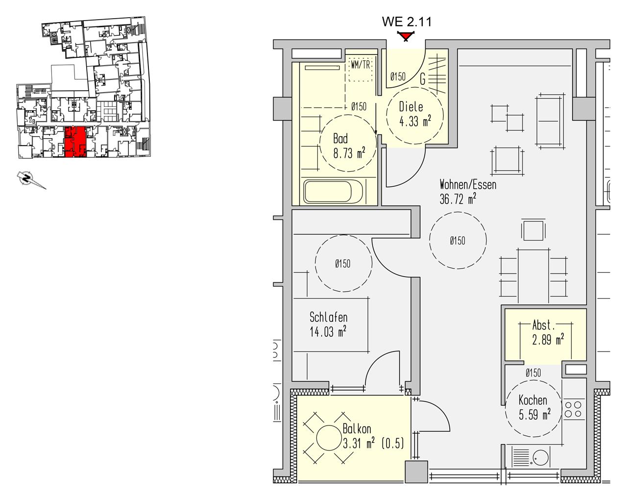 Nr. 2.11 - 2.OG - 2 Zimmer - 75,59 m² - 215.400,00 €