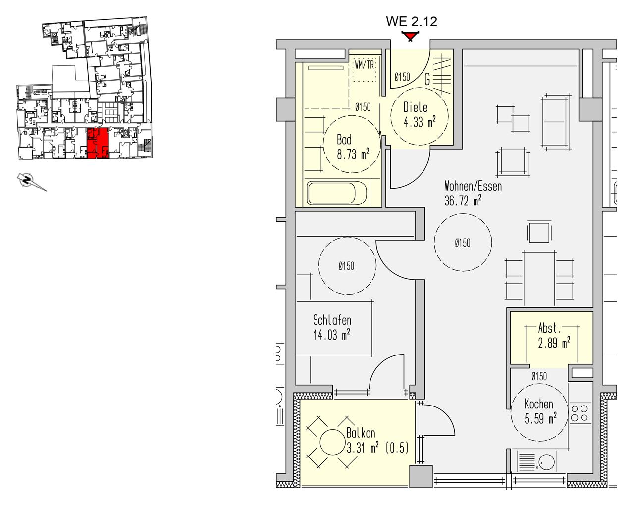 Nr. 2.12 - 2.OG - 2 Zimmer - 75,59 m²
