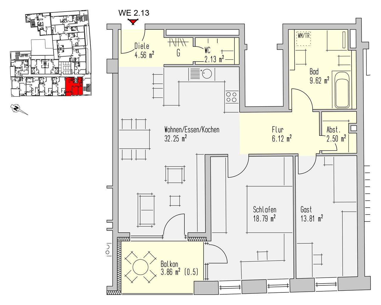 Nr. 2.13 - 2.OG - 3 Zimmer - 93,65 m² - 266.900,- €
