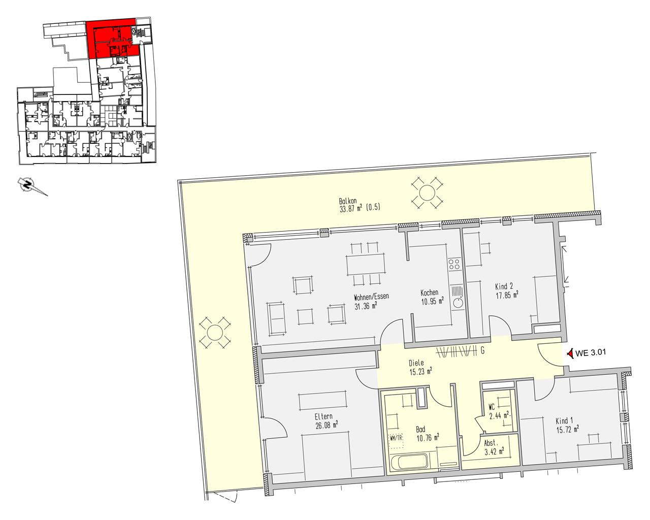 Nr. 3.01 - 3.OG - 4 Zimmer - 167,66 m² - 531.600,- €