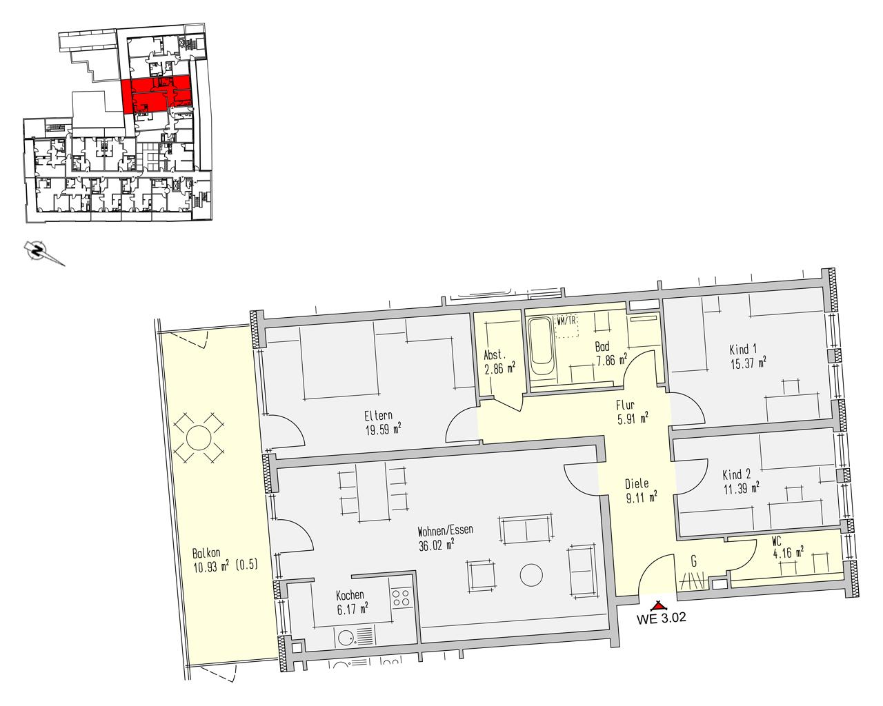 Nr. 3.02 - 3.OG - 4 Zimmer - 129,36 m² - 413.950,- €