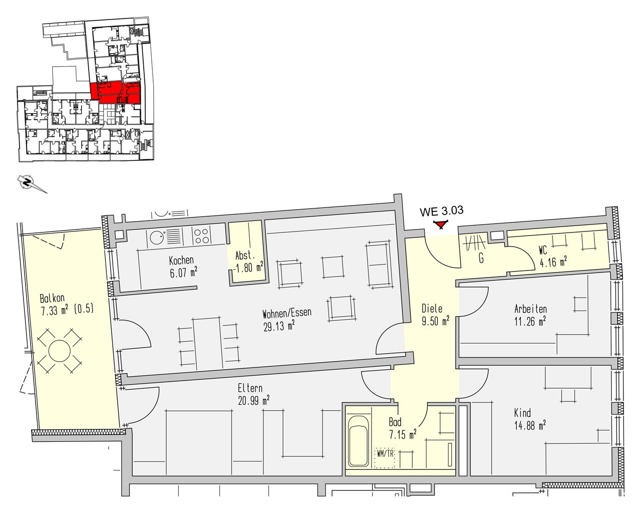 Nr. 3.03 - 3.OG - 4 Zimmer - 112,24 m² - 359.200,- €