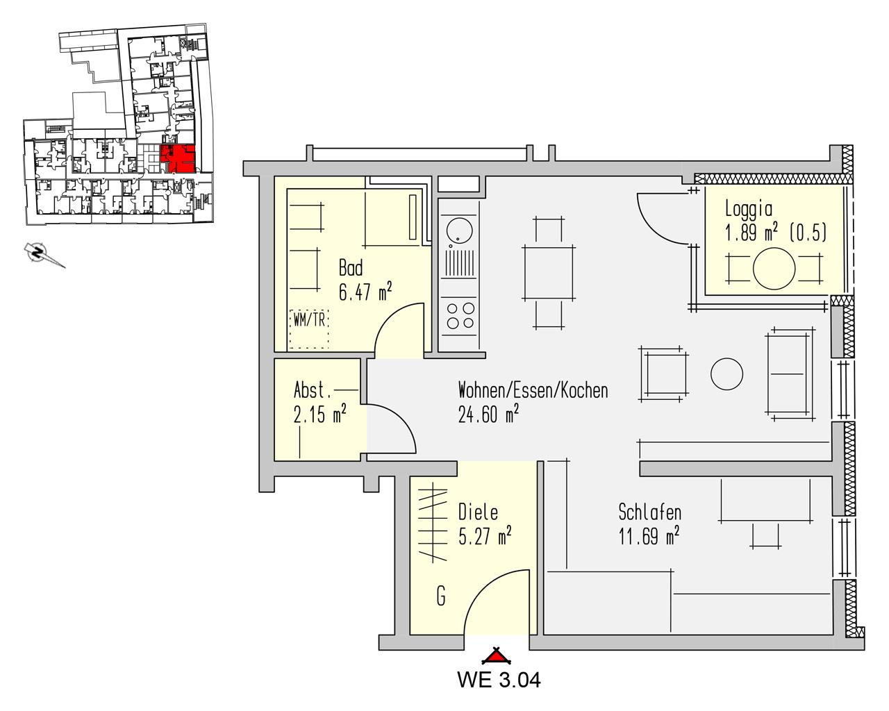Nr. 3.04 - 3.OG - 2 Zimmer - 52,07 m² - 166.600,- €