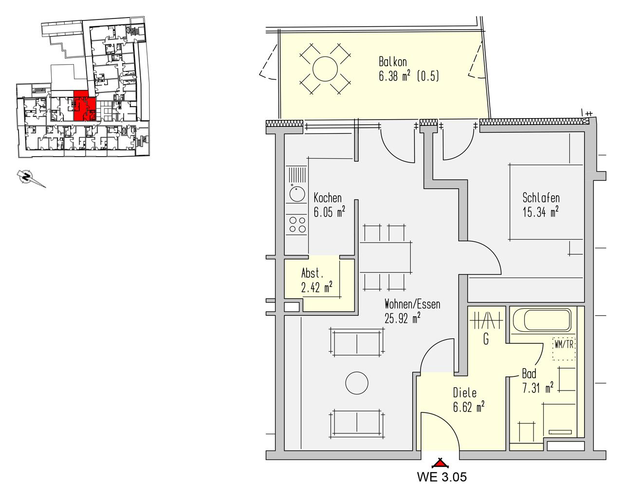 Nr. 3.05 - 3.OG - 2 Zimmer - 70,04 m² - 224.100,- €
