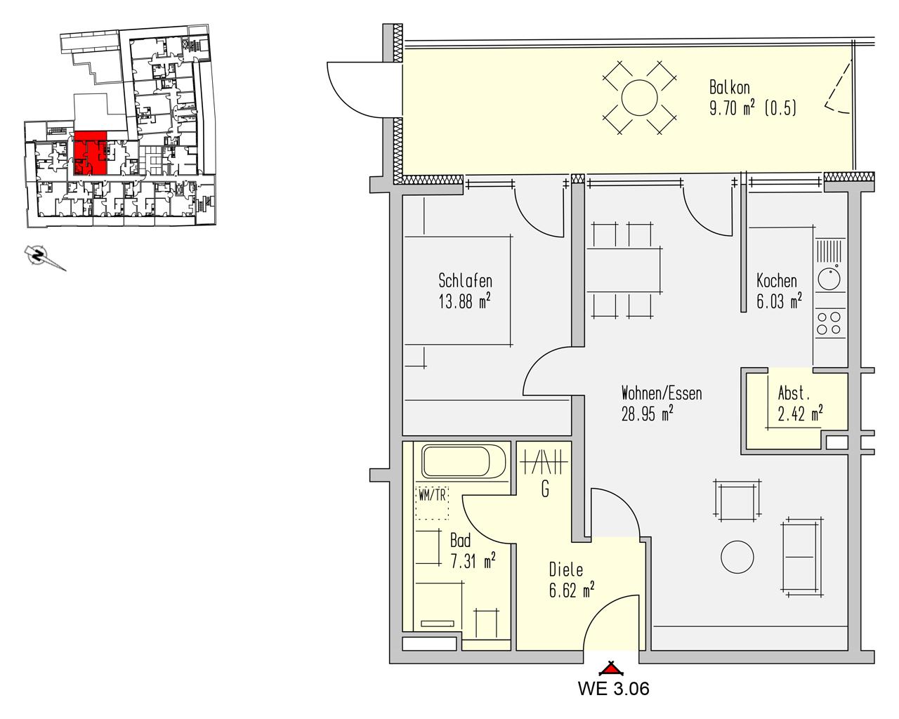 Nr. 3.06 - 3.OG - 2 Zimmer - 74,90 m² - 239.700,- €
