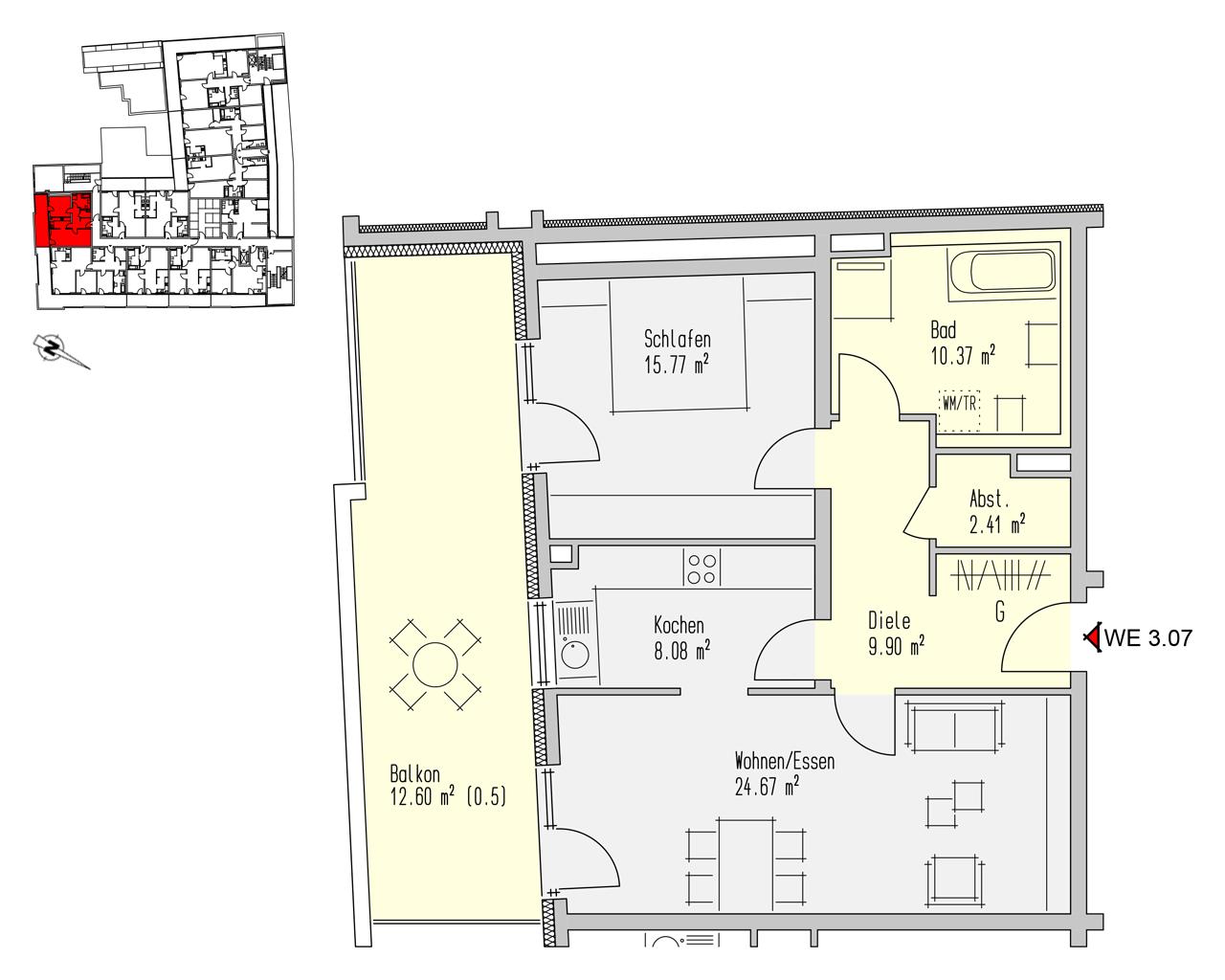 Nr. 3.07 - 3.OG - 2 Zimmer - 83,79 m² - 267.450,- €