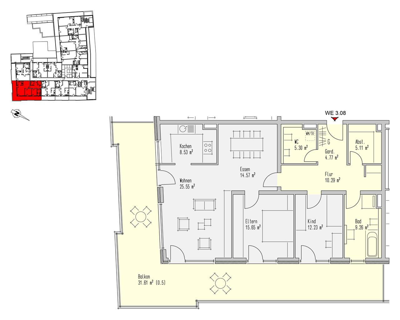 Nr. 3.08 - 3.OG - 3 Zimmer - 142,89 m² - 457.250,- €