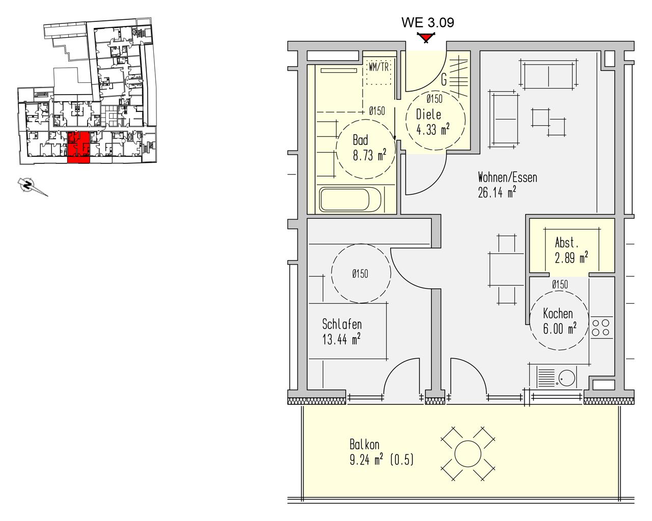 Nr. 3.09 - 3.OG - 2 Zimmer - 70,77 m² - 219.400,- €