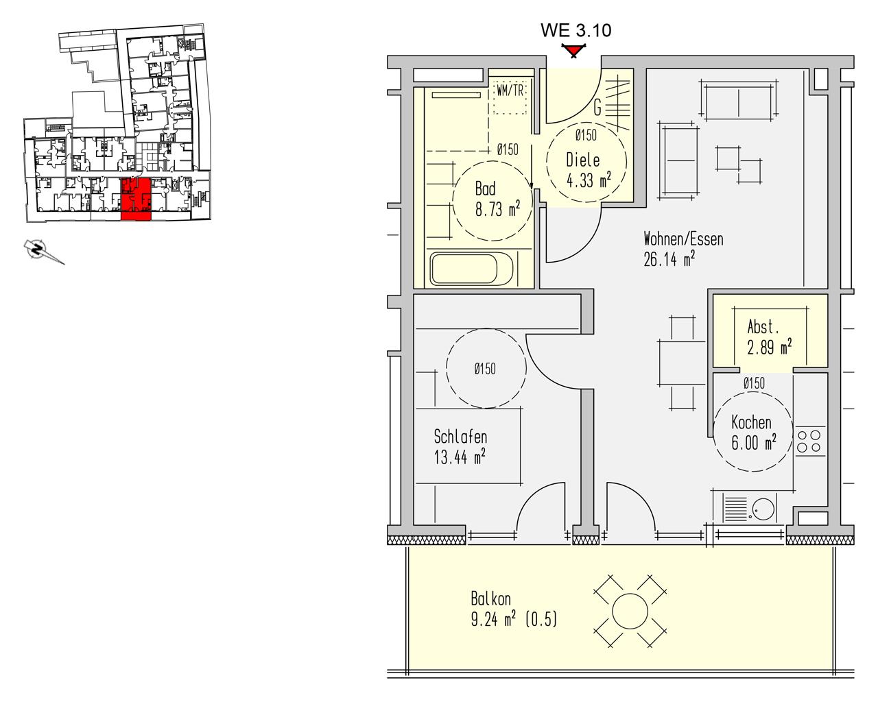 Nr. 3.10 - 3.OG - 2 Zimmer - 70,77 m² - 219.400,- €