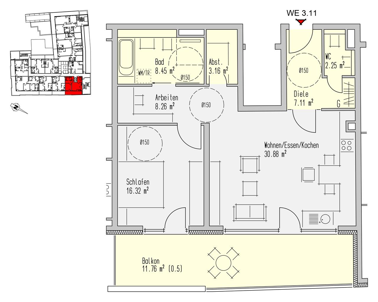 Nr. 3.11 - 3.OG - 2 Zimmer - 88,20 m² - 273.400,- €