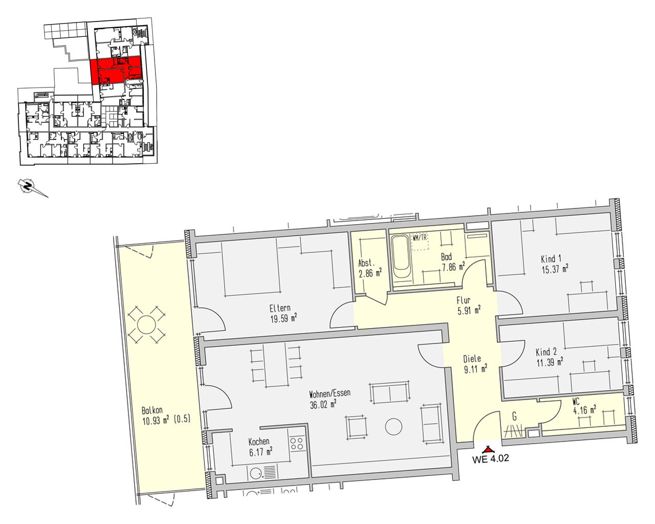 Nr. 4.02 - 4.OG - 4 Zimmer - 129,37 m² - 426.921,- €