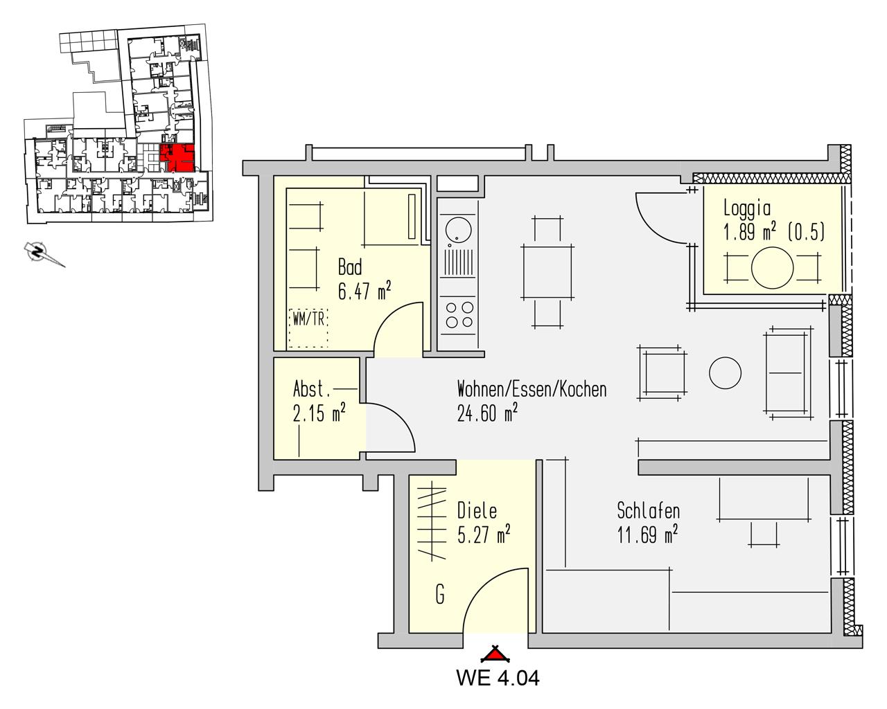 Nr. 4.04 - 4.OG - 2 Zimmer - 52,07 m² - 156.240,- €