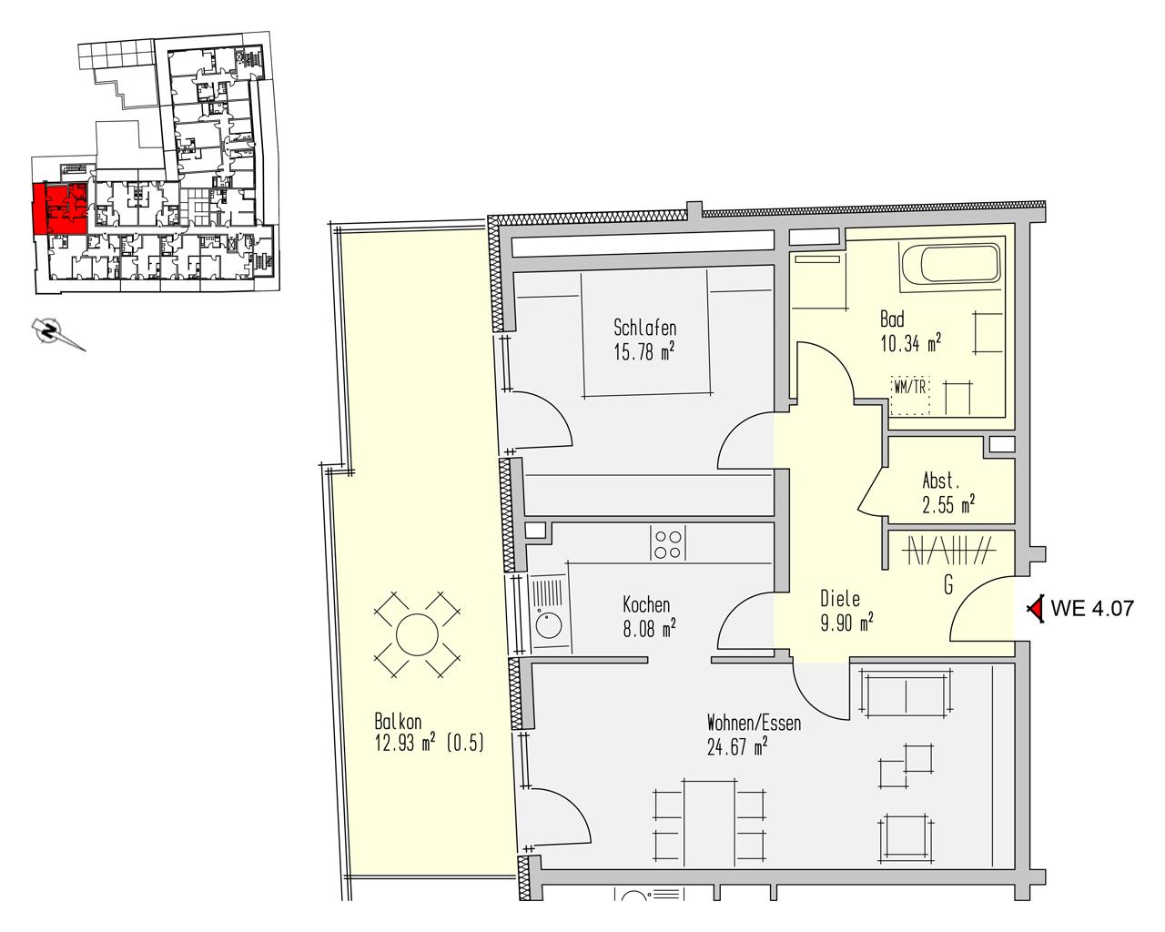 Nr. 4.07 - 4.OG - 2 Zimmer - 84,25 m²