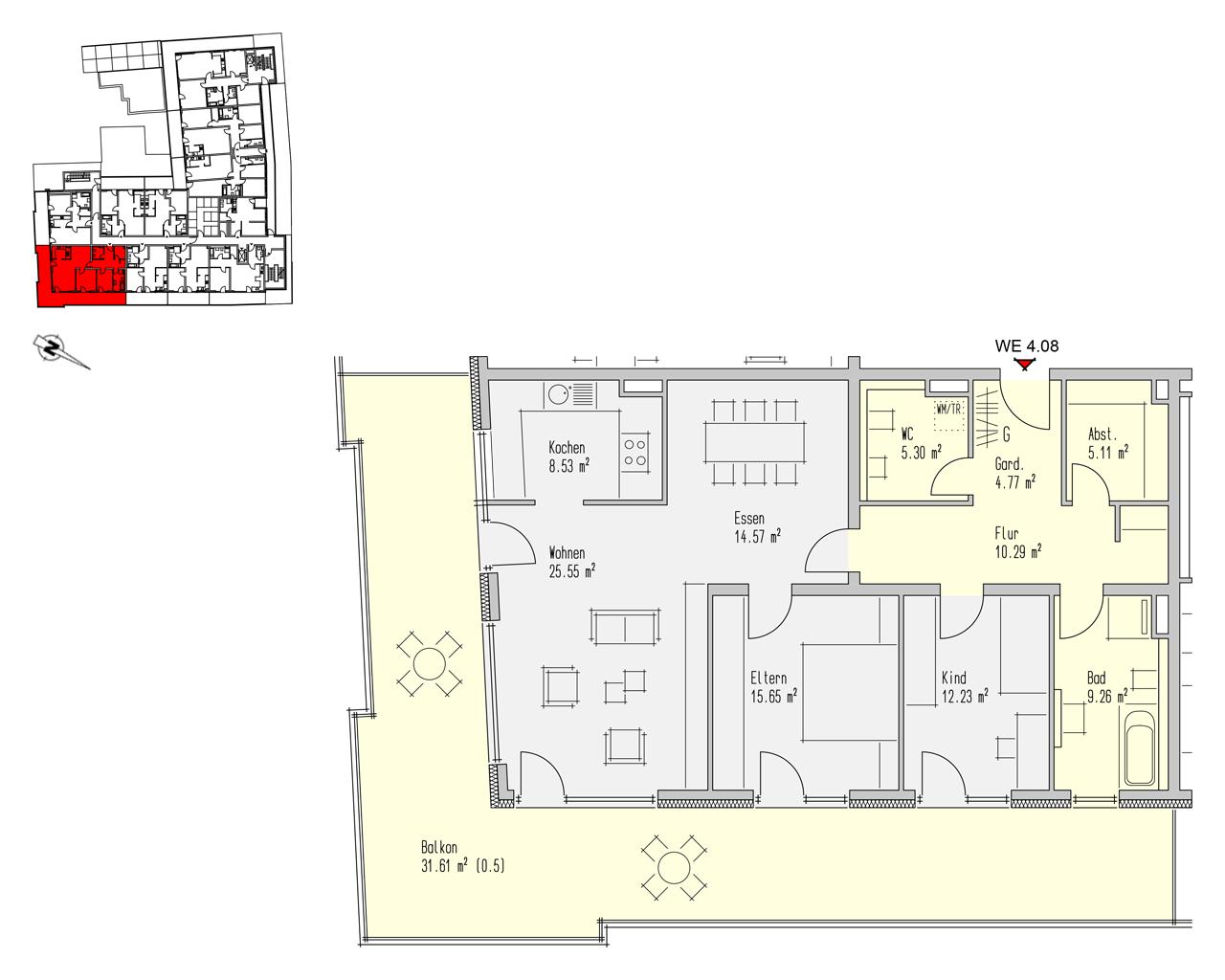 Nr. 4.08 - 4.OG - 3 Zimmer - 142,89 m² - 471.500,- €