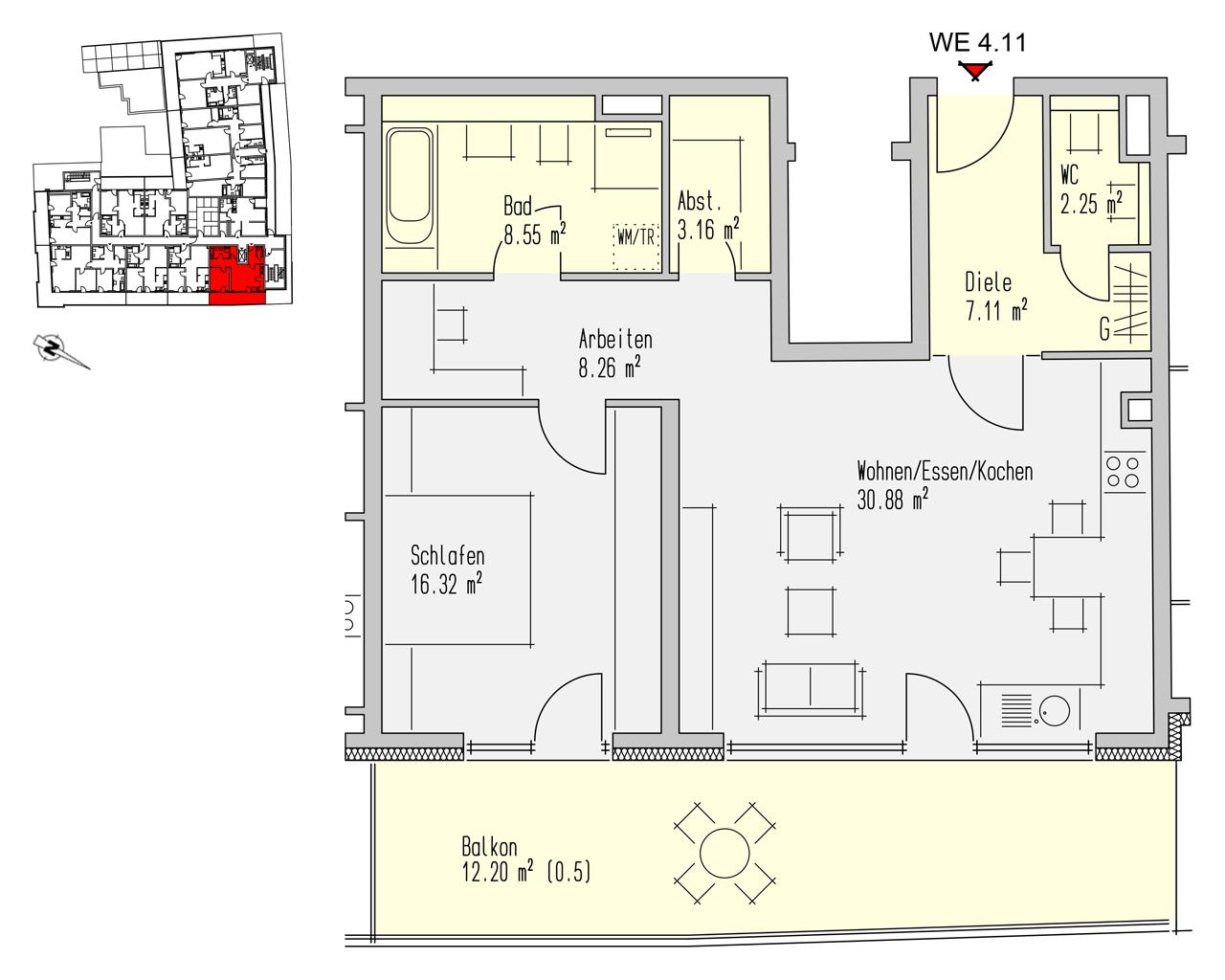 Nr. 4.11 - 4.OG - 2 Zimmer - 88,73 m² - 283.900,- €