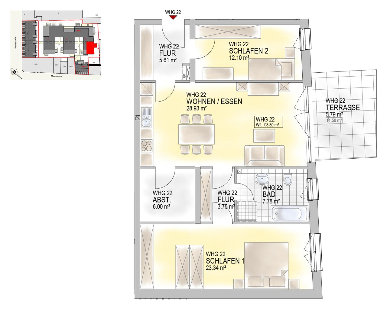 Nr. 22 - EG.1 - 3 Zimmer - 93,30 m² - 333.900 €