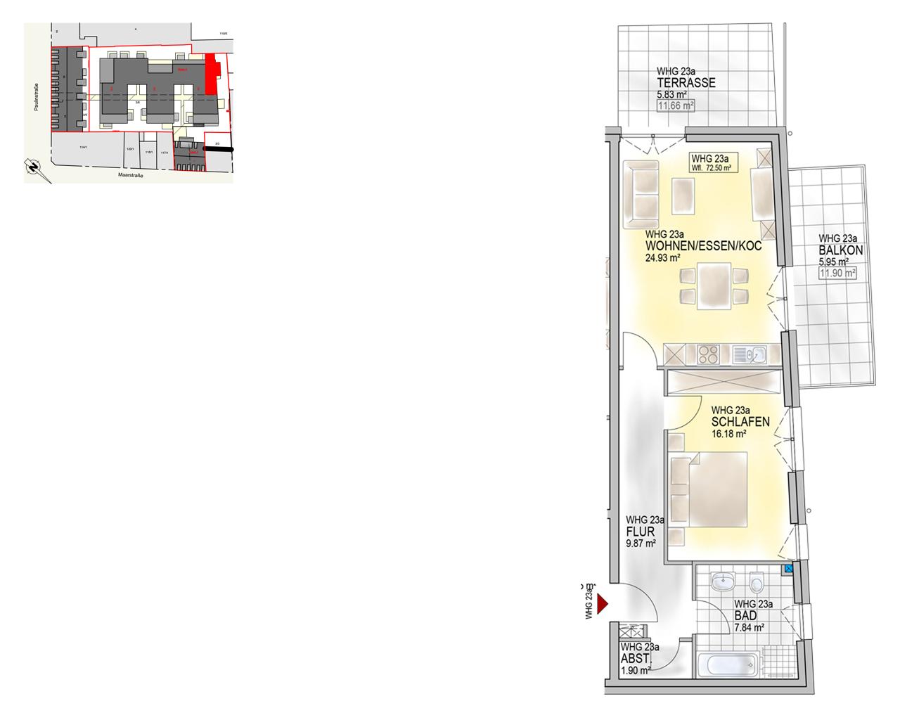 Nr. 23a - EG.2 - 2 Zimmer - 72,50 m²