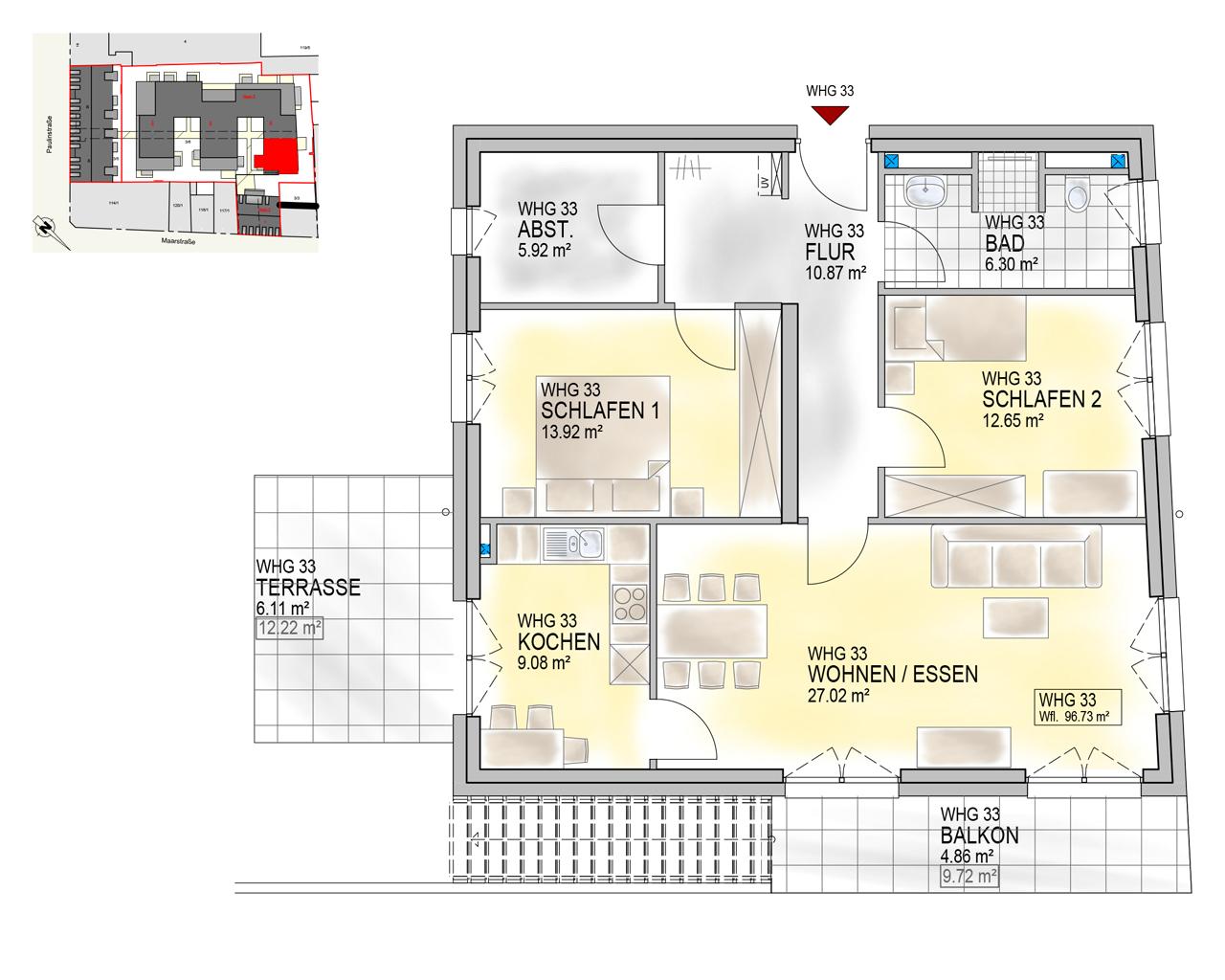 Nr. 33 - EG.2 - 3 Zimmer - 96,73 m²