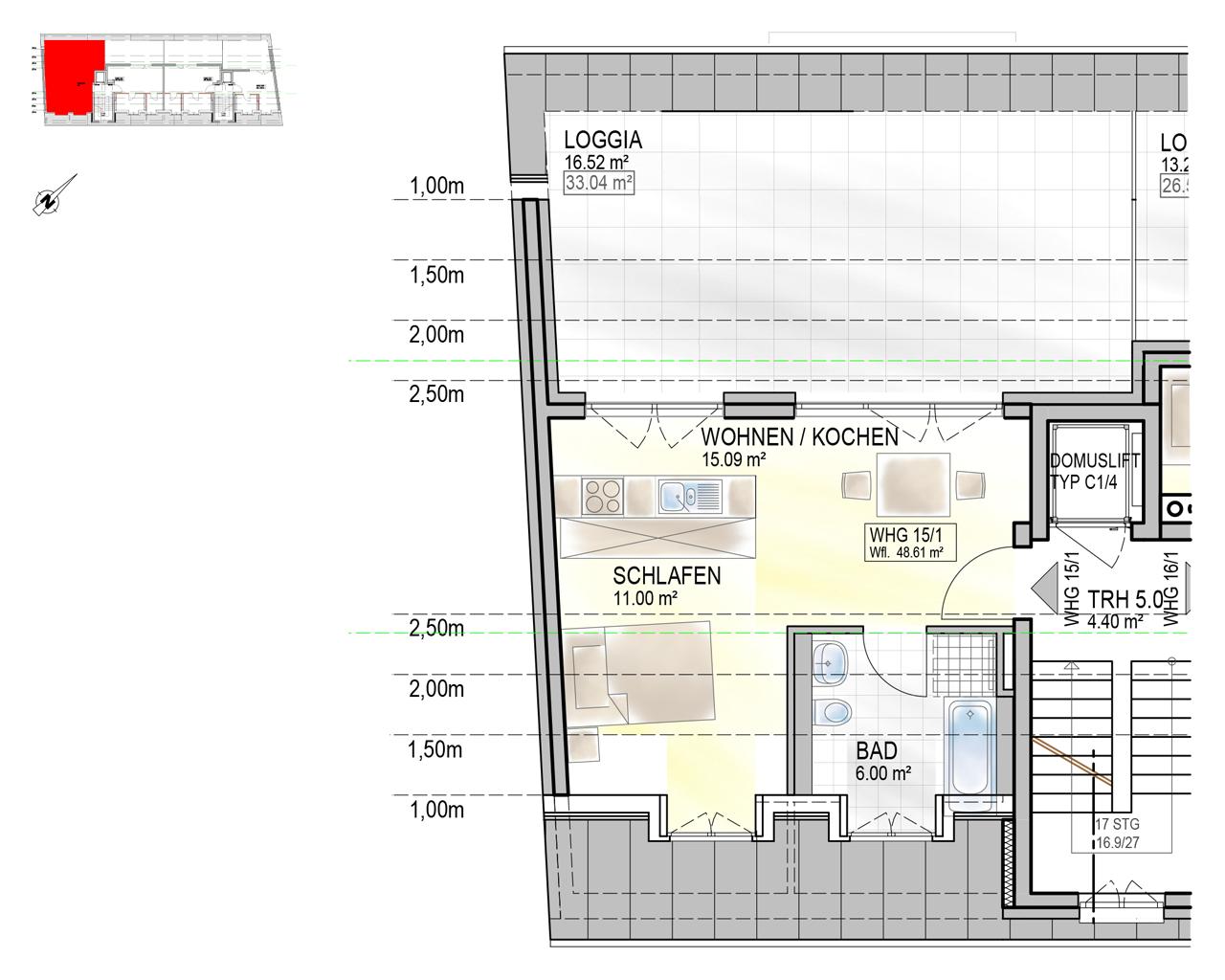 Nr. 15/1 - DG - 2 Zimmer - 48,20m² - 218.700 €