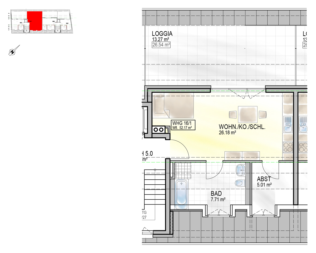 Nr. 16/1 - DG - 1 Zimmer - 50,73m² - 234.800 €