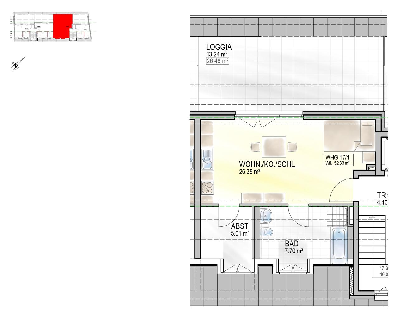 Nr. 17/1 - DG - 1 Zimmer - 51,00m² - 235,500 €