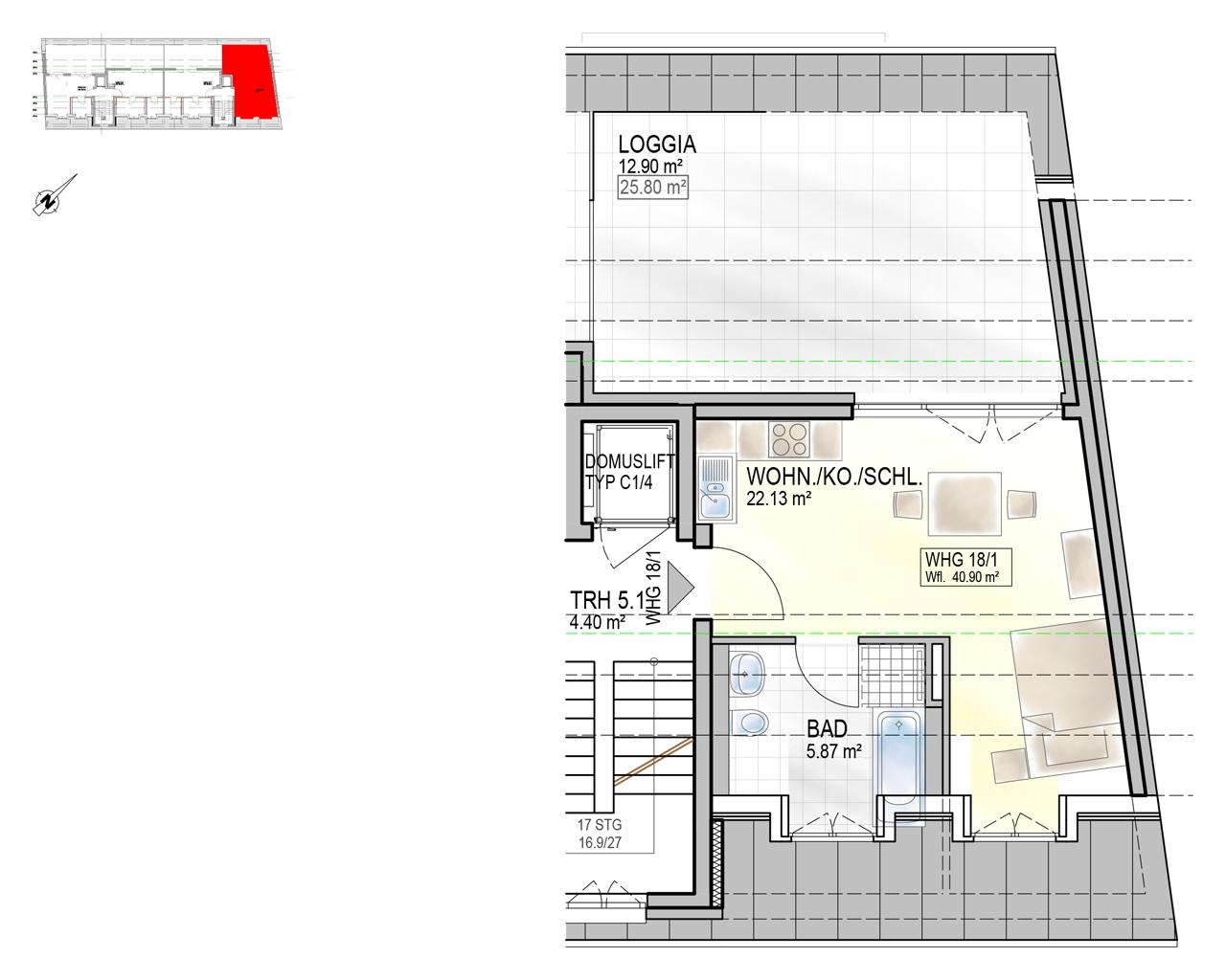 Nr. 18/1 - DG - 1 Zimmer - 40,66m² - 184,100 €