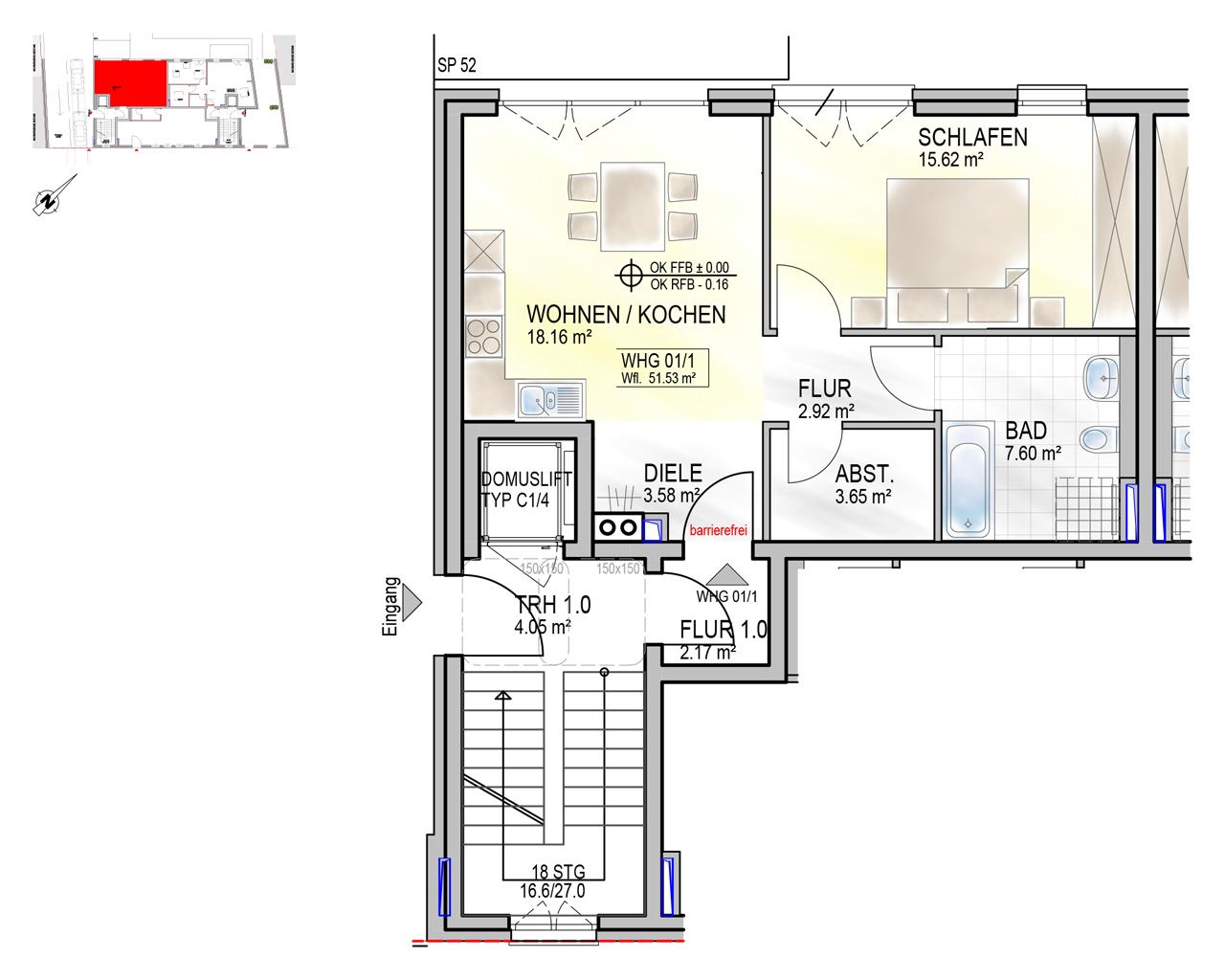 Nr. 01/1 - EG - 2 Zimmer - 58,60m² - 201.500 €