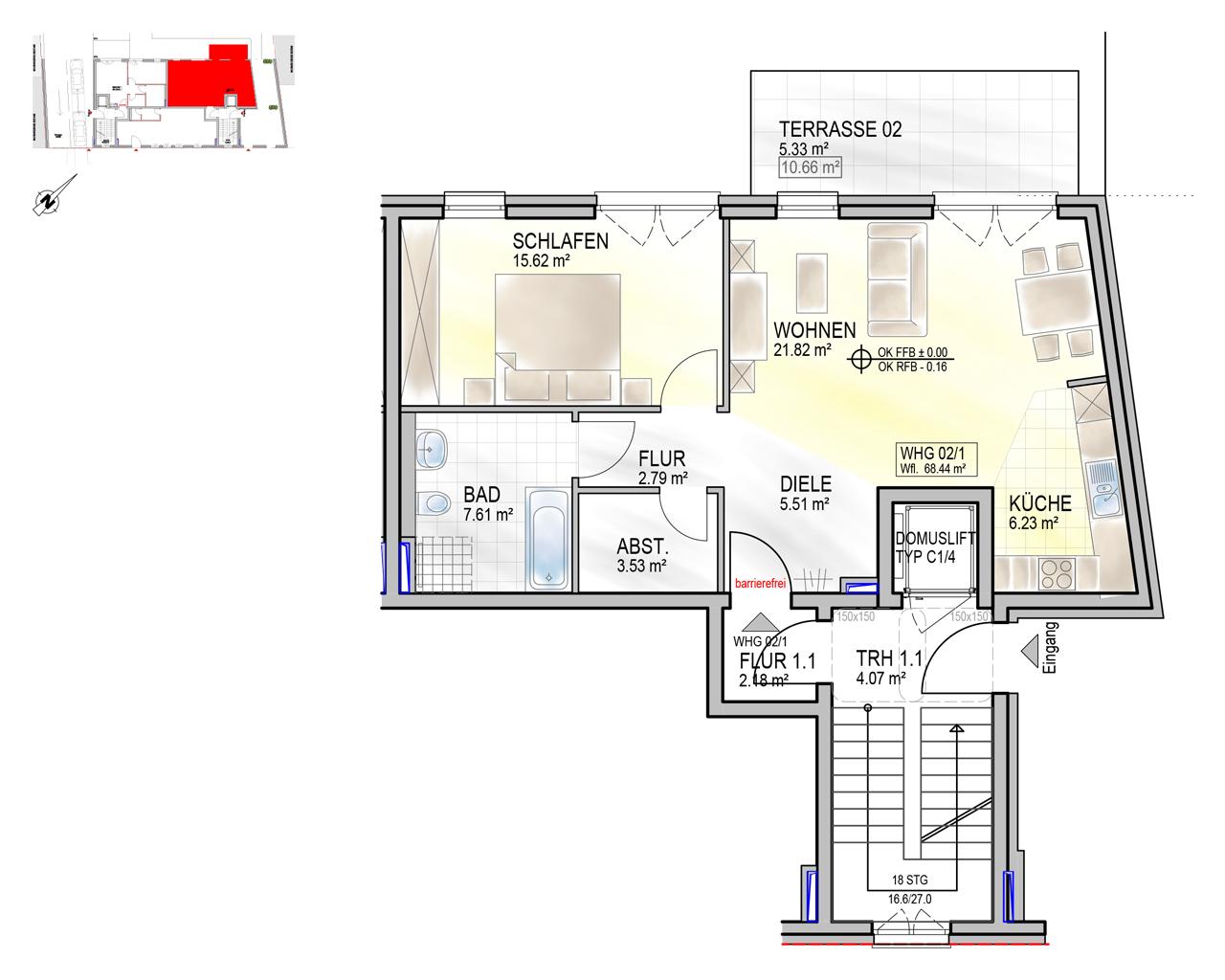 Nr. 02/1 - EG - 2 Zimmer - 71,09m²
