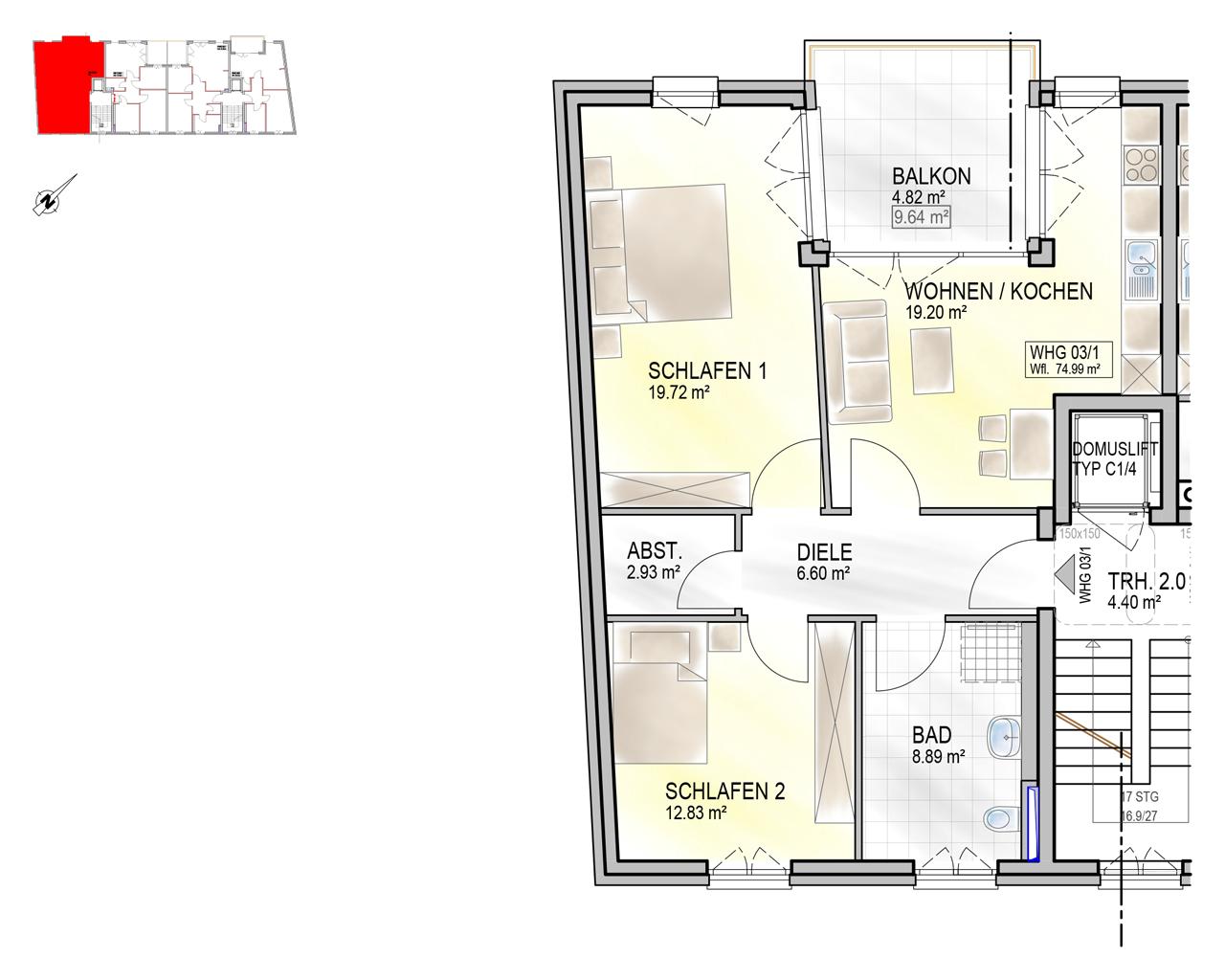 Nr. 03/1 - OG 1 - 3 Zimmer - 74,68m²